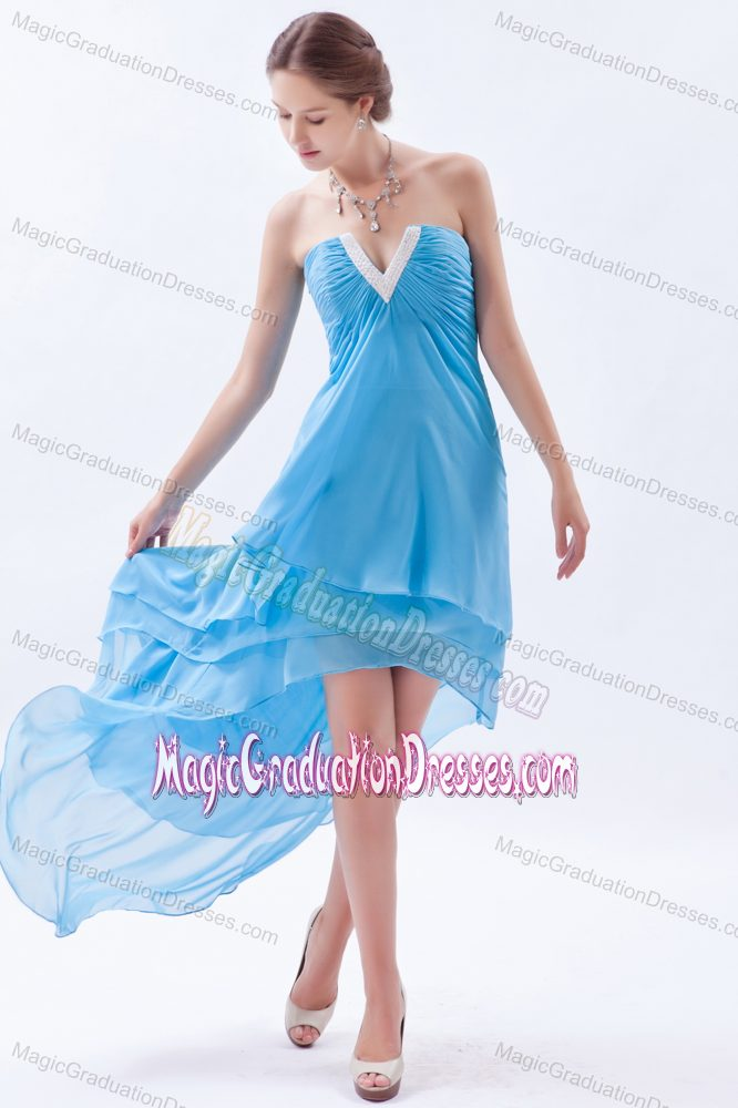 Plus Size Slot Neck High Low Graduation Dress For High School In
