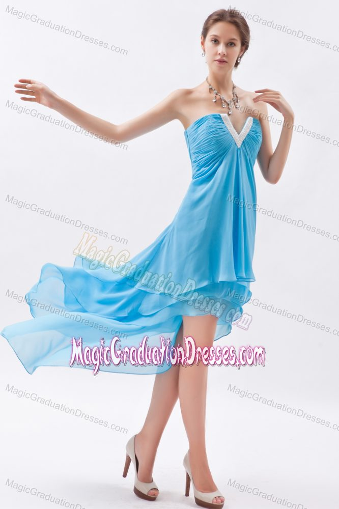 Size Slot Neck High Low Graduation Dress For High School In Baby Blue