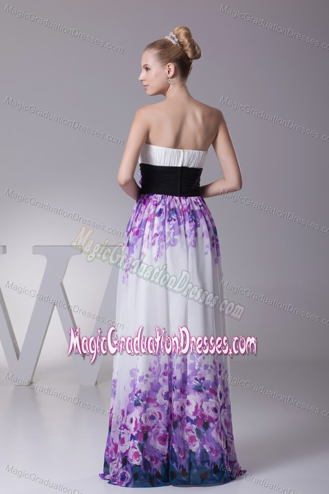 Printing Colorful Chiffon Long Middle School Graduation Dress Online