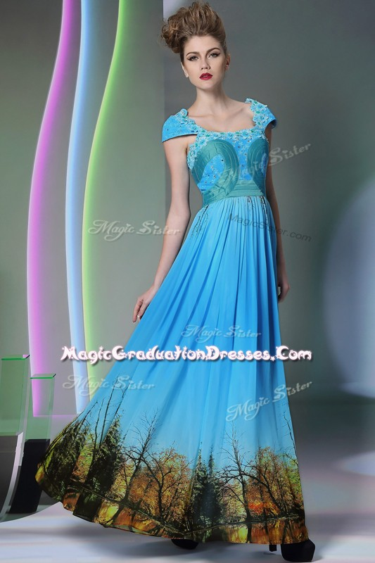 Baby Blue A-line Appliques and Pattern Sweet 16 Dresses Zipper Printed Sleeveless Floor Length