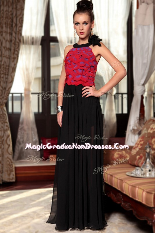 Scoop Red And Black Sleeveless Floor Length Ruching and Hand Made Flower Side Zipper Quinceanera Gowns
