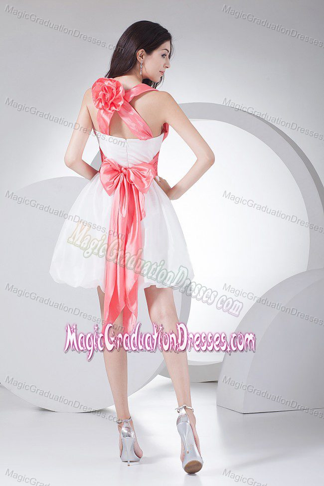 Hand Made Flowers Decorate Bodice White School Anniversary Party Dress