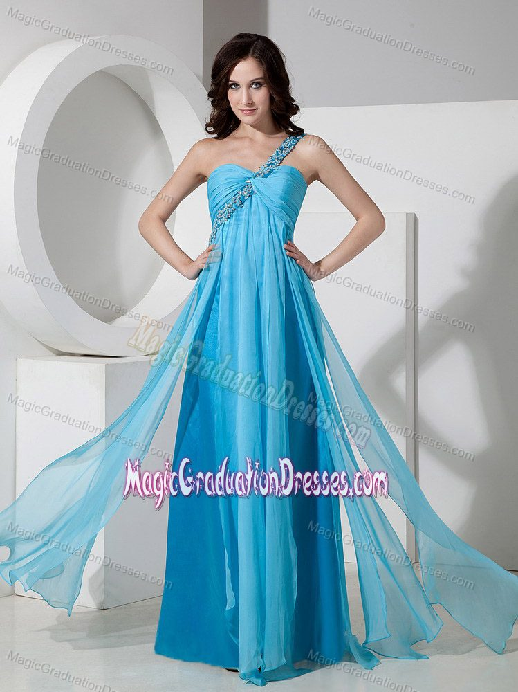 Baby Blue One Shoulder Chiffon Beads 5th Grade Graduation Dresses in Leuchars