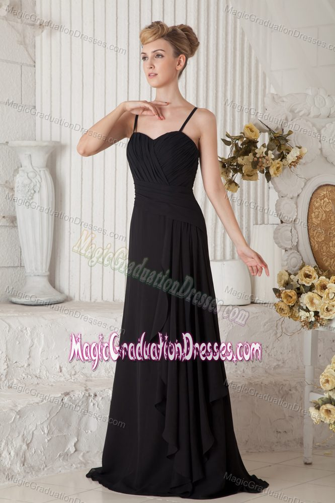 ... Black Straps Ruched Floor-length Graduation Ceremony Dresses in Oshawa
