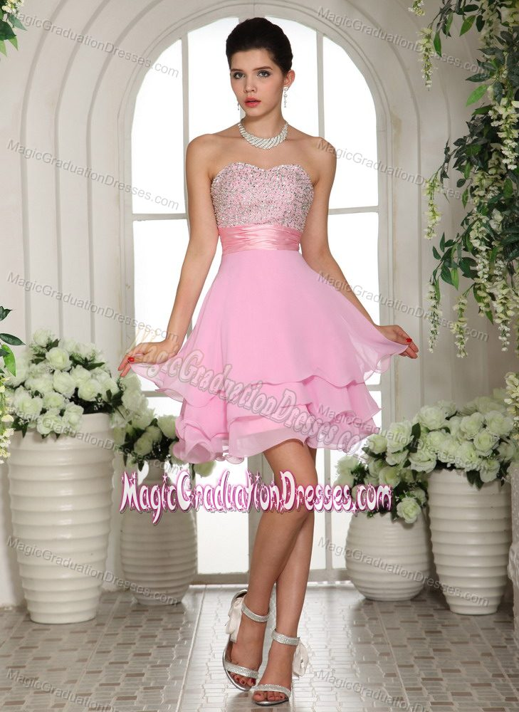 Pink Sweetheart Short-Length Layered Graduation Dress for Grade 8 in ...