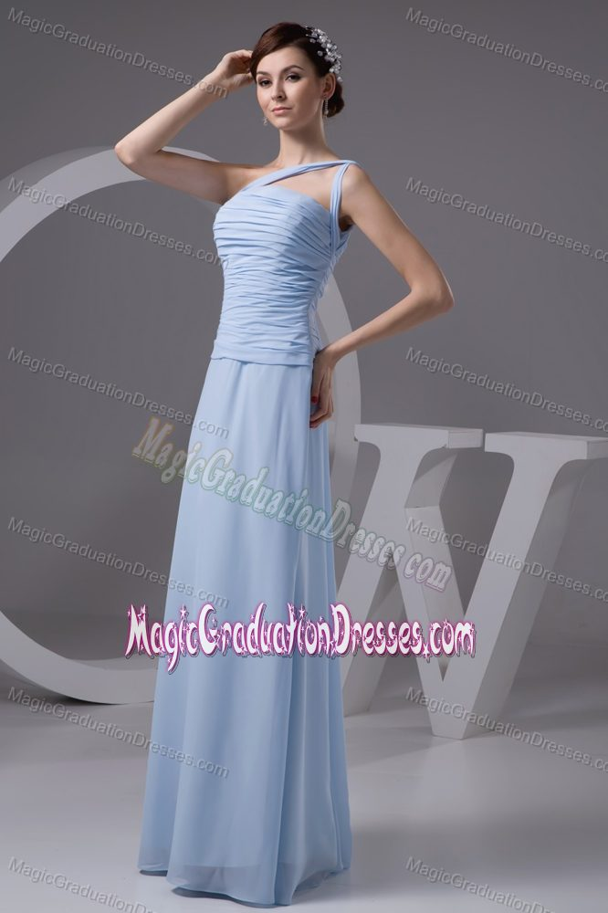 one shoulder ruched long cheap graduation dresses in light