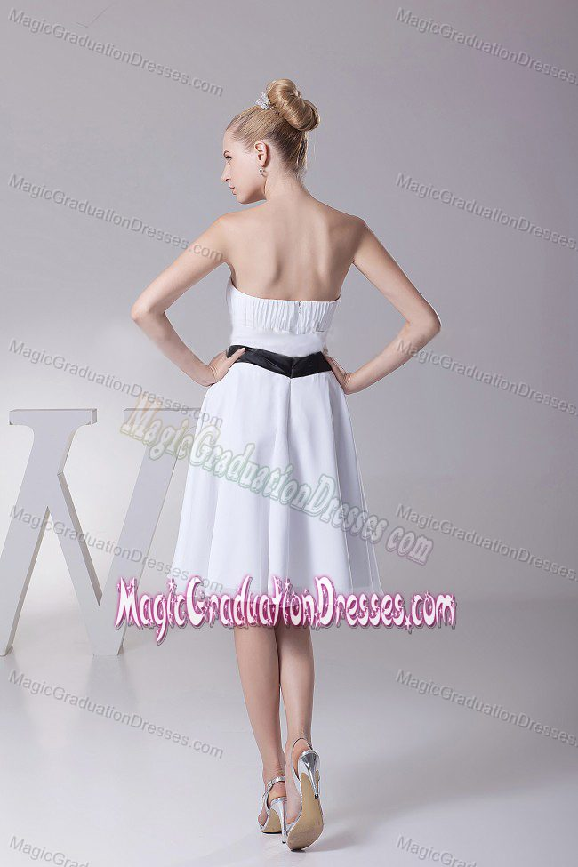 Strapless Knee-Length Ruched White School Party Dress with Black Belt in Cromarty