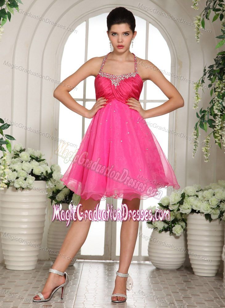 Lovely Hot Pink Beaded Halter Mini-length Dress for School Classy Party