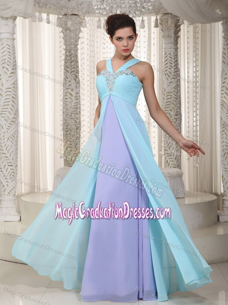 Aqua Blue and Lavender Evening Dress for Graduation with Ruching in Thornton