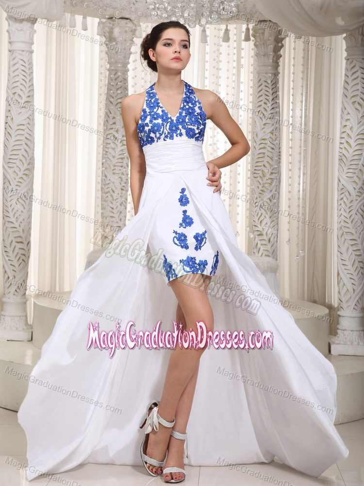 White Halter High-low 5th Grade Graduation Dresses with Appliques in Sherman