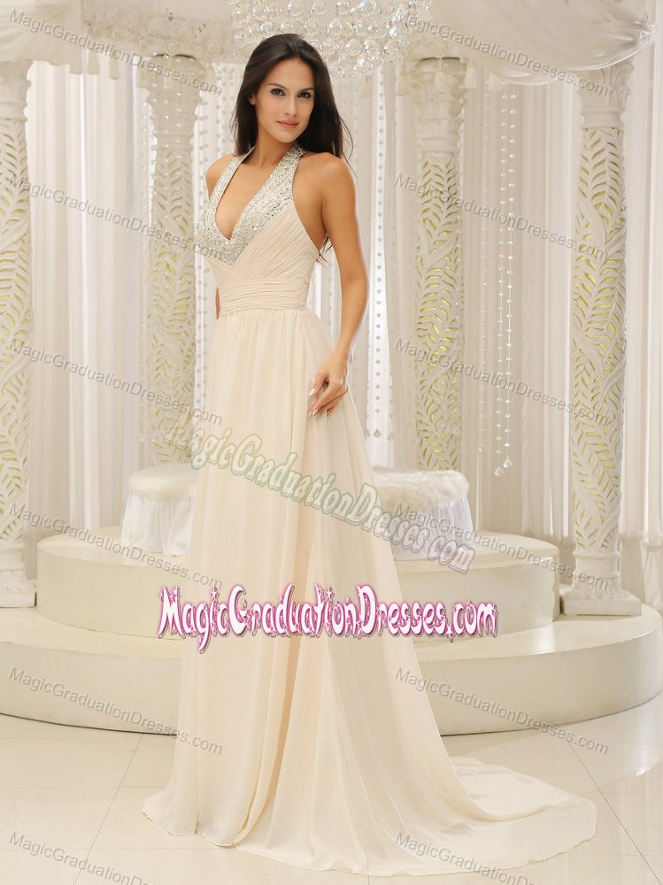 Halter Top Brush Train Champagne Middle School Graduation Dresses in Piasa