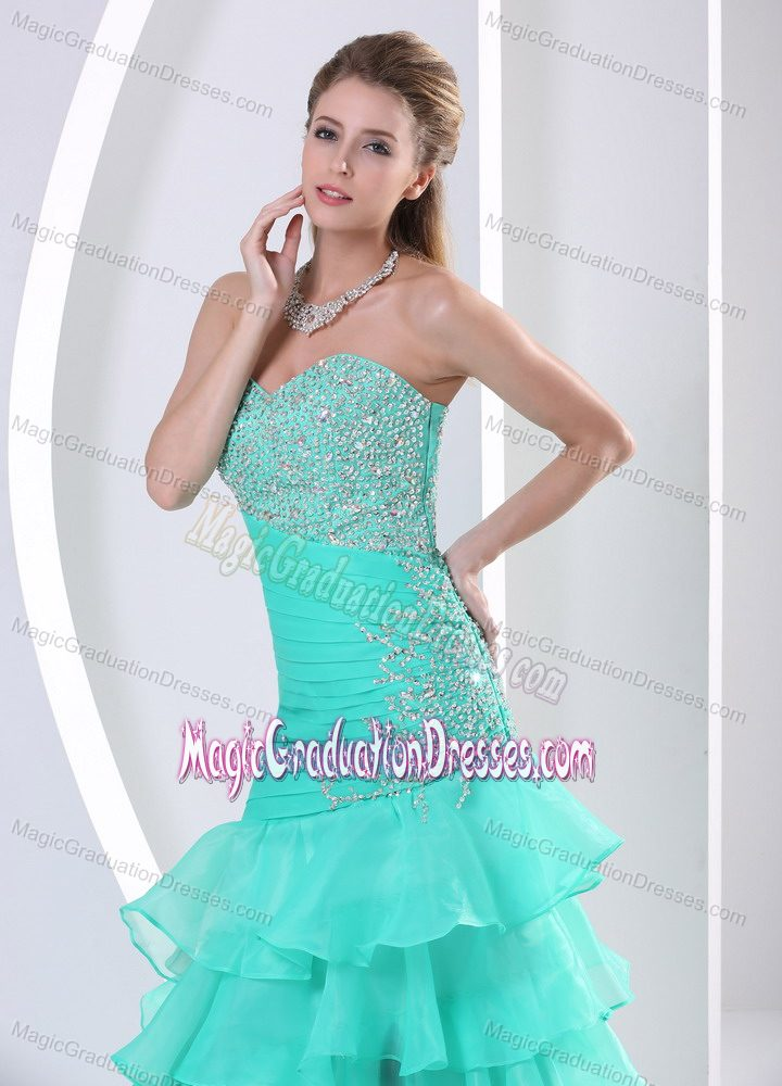 Aqua Blue Ruched Strapless Graduation Dresses for Middle School in Oregon