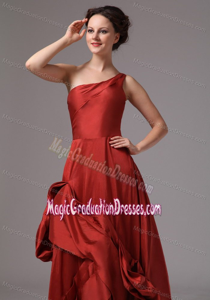 Unique One Shoulder A-line Rust Red Eighth Grade Graduation Dress in Nebo