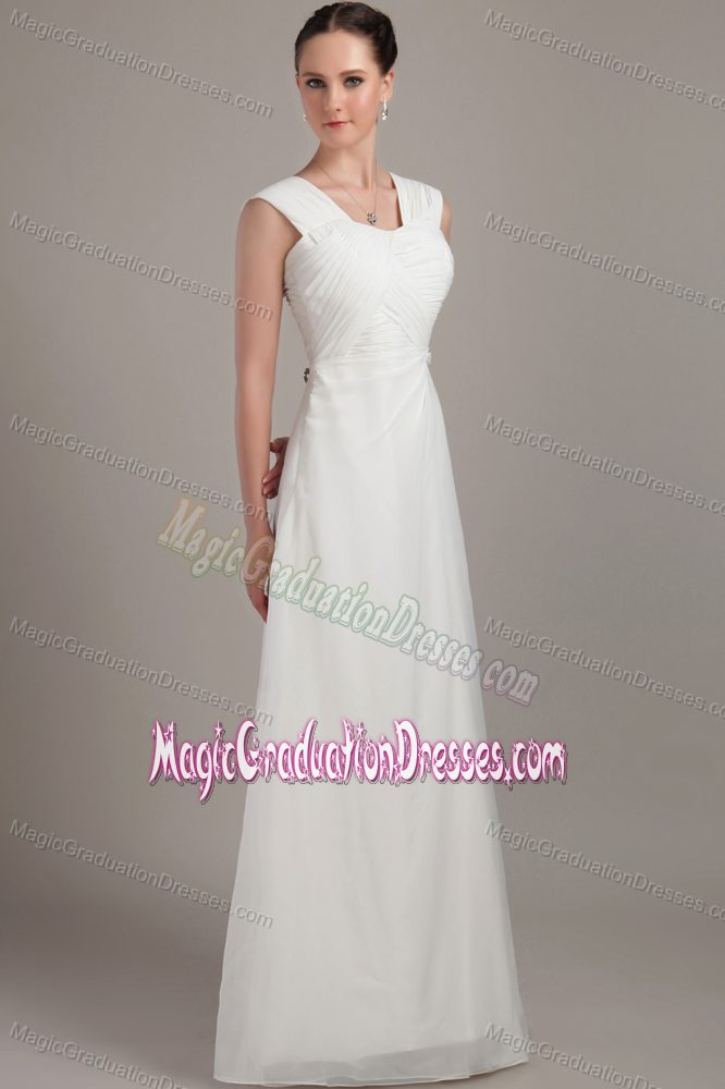 on Sale Empire Square Neck White Long Graduation Dresses for 8th Grade