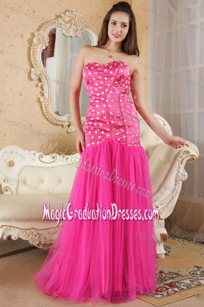 Pink Long Graduation Dresses for 8th Grade with Rhinestones
