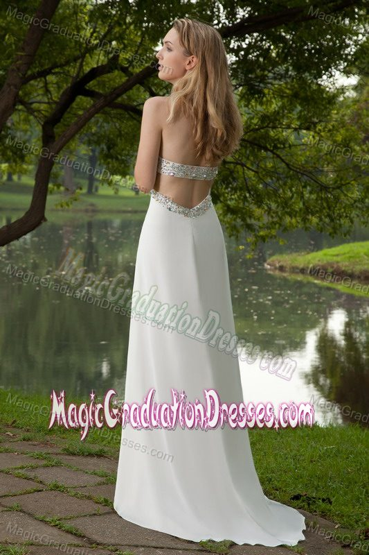 Beautiful Strapless Beaded White Long Graduation Dress for High School