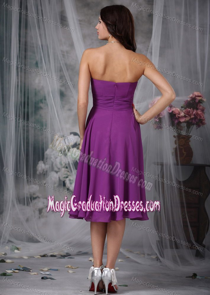 ... Purple Chiffon Tea-length 8th Grade Graduation Dress Simple Style