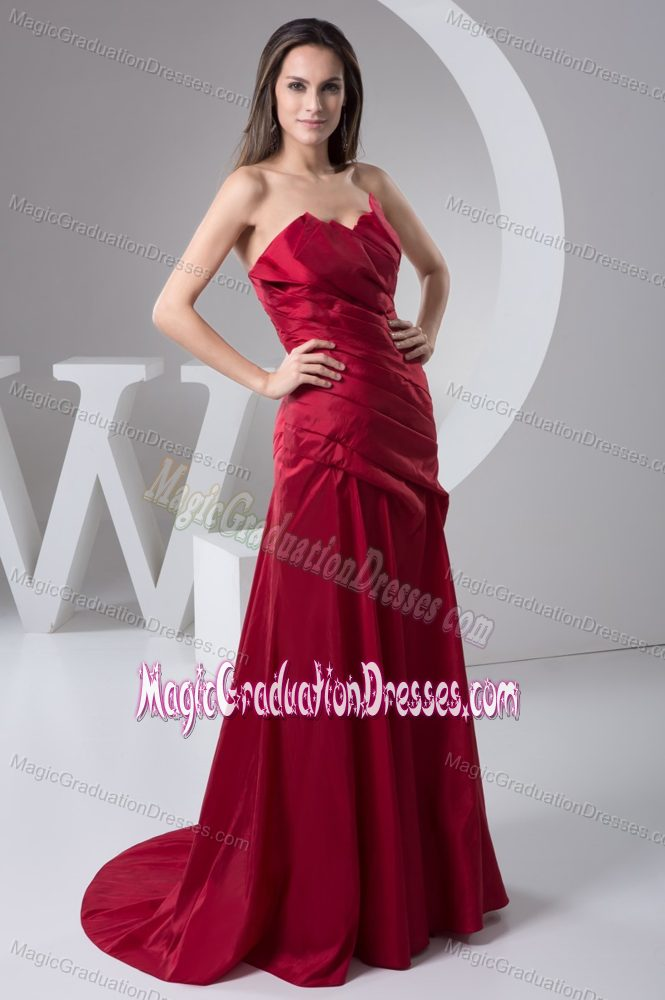 Ruched Brush Wine Red Cheap 5th Grade Graduation Dresses in Cottonwood