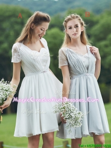 2016 New Short Sleeves Graduation Dress with Belt and Lace