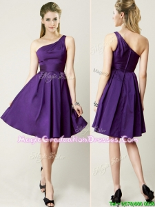Beautiful One Shoulder Purple Short Graduation Dress for Summer