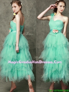 Popular One Shoulder Graduation Dress with Ruffled Layers and Hand Made Flowers