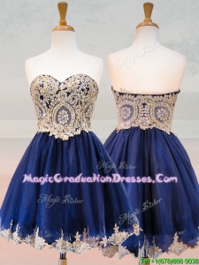 2016 Fashionable Organza Applique with Beading Graduation Dress in Royal Blue