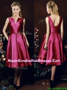 2016 Popular V Neck Knee Length Bowknot Graduation Dress in Fuchsia
