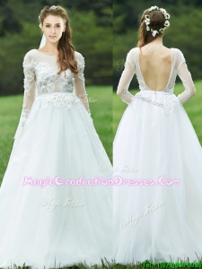 2016 Pretty Applique White Backless Graduation Dress with Long Sleeves