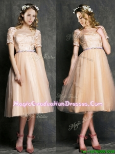 Beautiful Bateau Short Sleeves Graduation Dress with Sashes and Lace