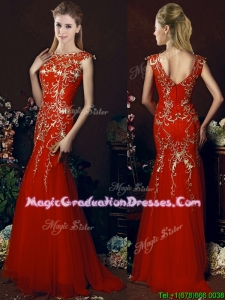 Elegant Mermaid Red Graduation Dress with Gold Sequined Appliques