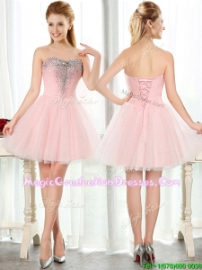Lovely Beaded and Sequined Short Graduation Dress in Baby Pink
