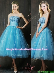 Lovely Strapless Applique Bust Baby Blue Graduation Dress in Tea Length