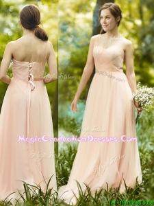 See Through One Shoulder Peach Graduation Dress in Floor Length