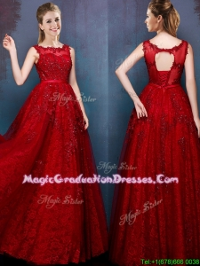 See Through Scoop Wine Red Graduation Dress with Beading and Appliques