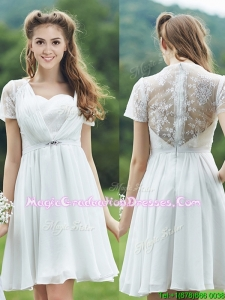 See Through Short Sleeves White Graduation Dress with Belt and Lace