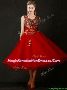 Beautiful V Neck Tea Length Graduation Dress with Beading and Appliques