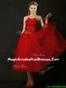 Elegant Tea Length Applique Red Graduation Dress with Asymmetrical Neckline