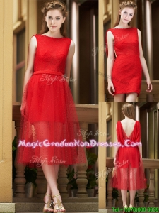 Exclusive Bateau Lace Tea Length Graduation Dress in Red
