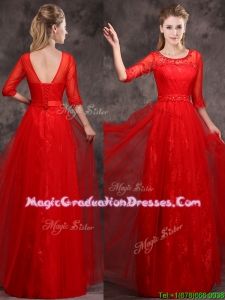 Latest Applique and Beaded Red Graduation Dress in Tulle and Lace