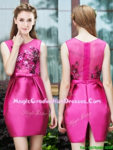 Luxurious Column Scoop Applique Hot Pink Graduation Dress in Satin