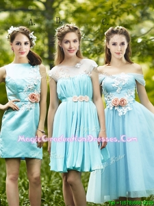 Most Popular Light Blue Graduation Dress with Appliques for Spring