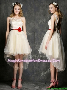 Classical One Shoulder High Low Champagne Graduation Dress with Belt and Appliques