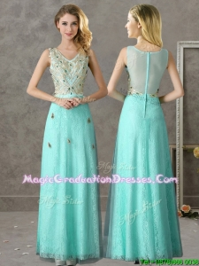 Discount Beaded and Applique V Neck Graduation Dress in Apple Green