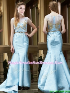 Modest Mermaid Applique Brush Train Graduation Dress in Light Blue