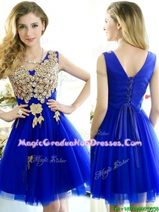 Modest V Neck Short Graduation Dress with Rhinestone and Appliques