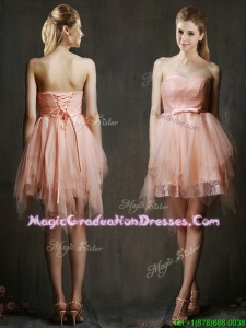 Popular Belted and Ruffled Short Graduation Dress in Watermelon Red