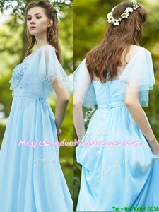 See Through Bateau Short Sleeves Graduation Dress with Appliques