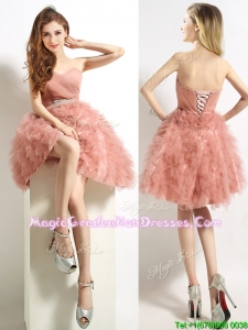 Classical Sweetheart Beaded and Ruffled Short Graduation Dress in Peach