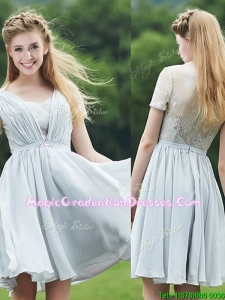 Elegant Sweetheart Short Sleeves Graduation Dress with Belt and Lace