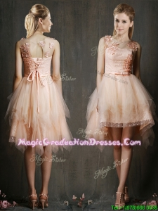 Gorgeous Scoop High Low Graduation Dress with Appliques and Belt